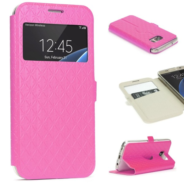 Samsung Galaxy S7 Sichtfenster Handy Schutz Hülle Case Schale Tasche