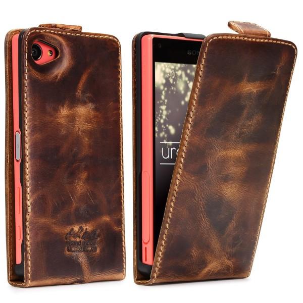 Akira Handmade Leder Handy Schutz Hülle Case Wallet Sony Xperia Z5 Compact