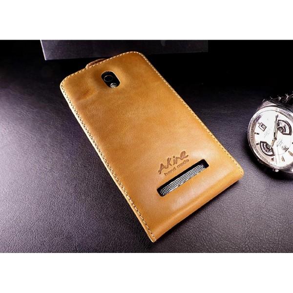 Akira HTC Desire 500 Handmade Echtleder Klapp Schutzhülle Flip Wallet Cover Etui