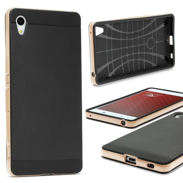 Sony Xperia Z4 Mini Back Case Carbon Style Cover Dual Layer Schutzhülle TPU