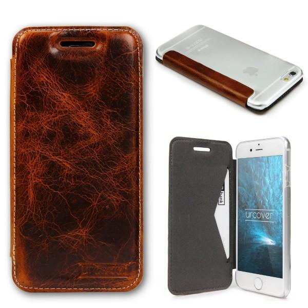 Apple iPhone 6 Plus / 6s Plus Echt Leder Schutz Hülle Case Cover klar Tasche