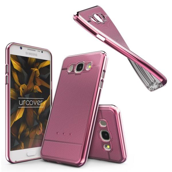 Samsung Galaxy J7 (2016) Metall Optik Silikon Handy Schutz Hülle Back Case Cover