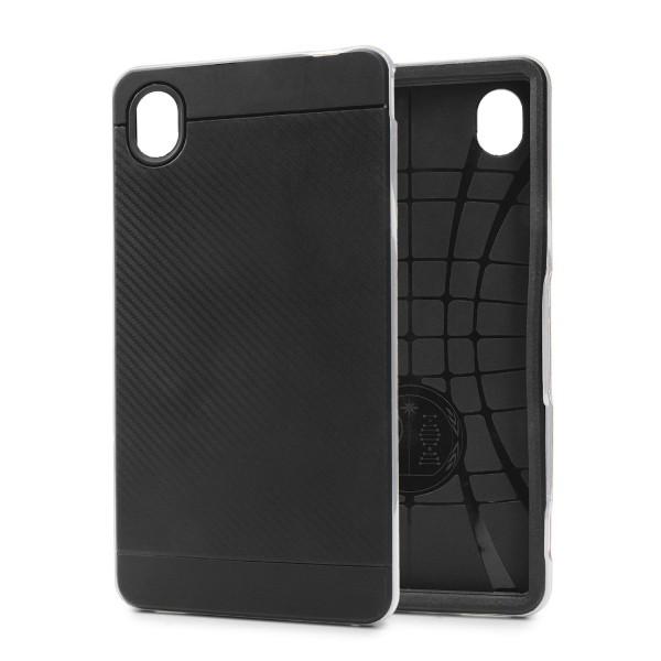 Sony Xperia M4 Back Case Carbon Style Cover Dual Layer Schutzhülle TPU Schale