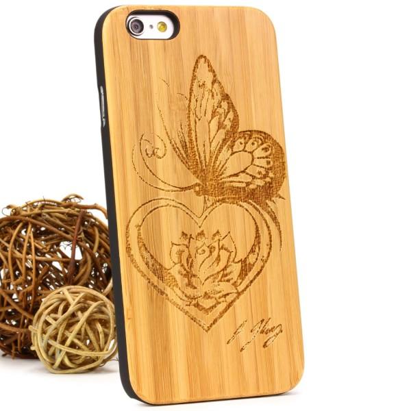Urcover® Handy Schutz Hülle Apple iPhone 6 / 6s Case Echt Holz Pattern Cover Tasche Etui