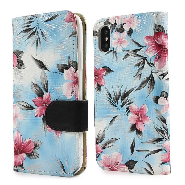 Urcover® Apple iPhone X Schutz Hülle Blumenmuster Kartenfächer Ständer Tasche