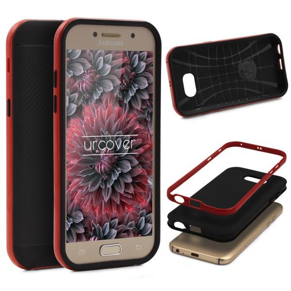 Samsung Galaxy A3 (2017) Back Case Carbon Style Cover Dual Layer Schutzhülle TPU