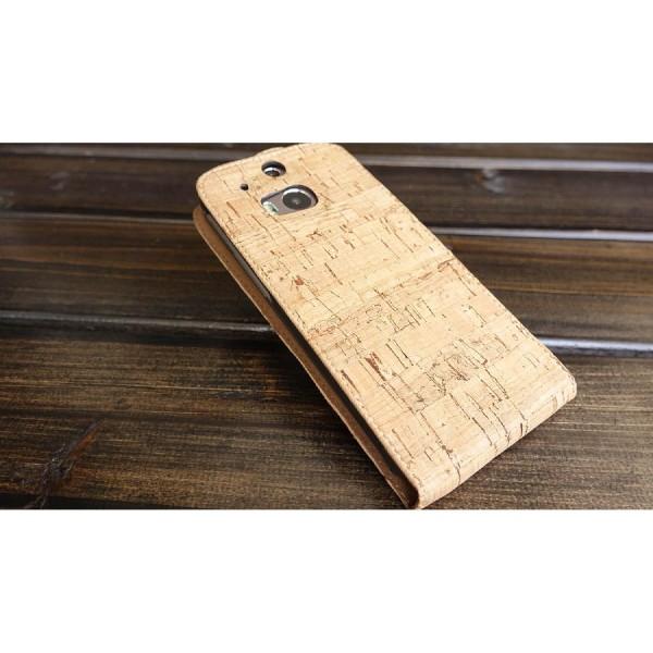 Urcover® HTC One M8 Kork Flip Schutz Hülle Case Cover Wallet Etui Schale