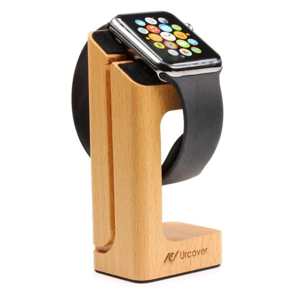 Original UrCover® Apple Watch Holzständer Dockingstation Ladestation Stehendes Holz Ladedock für 38mm und 42mm Apple Smartwatch Modelle Hell Braun