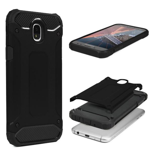 Samsung Galaxy J3 (2017 Europa) OUTDOOR Schutz Hülle Cover Backcase Carbon Optik