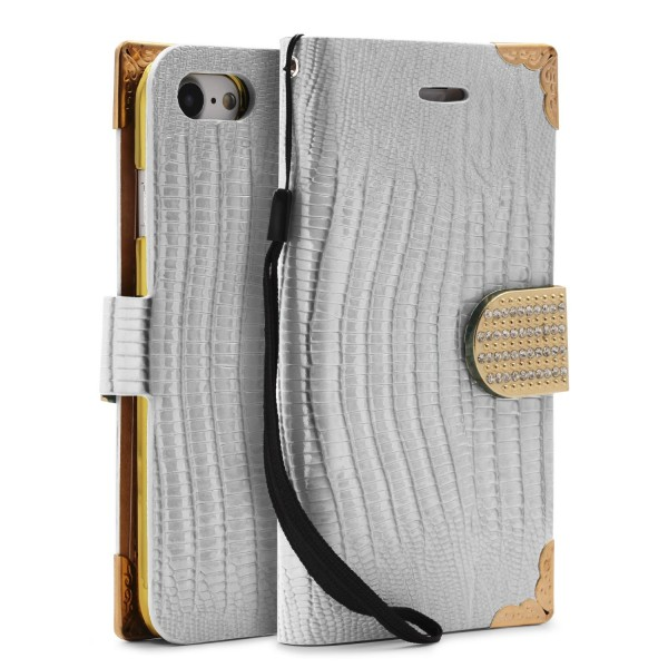 Urcover® Apple iPhone 7 Hülle Kartenfächer Flip Case Cover Wallet Crocodile Etui