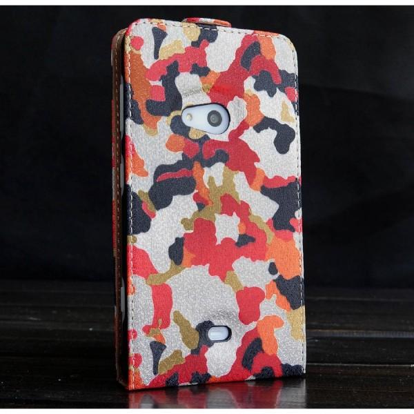 Urcover® Nokia Lumia 625 Kunststoff Flip Schutzhülle Tarn Optik Case Cover