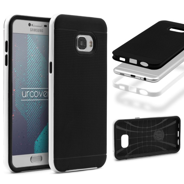 Samsung Galaxy C7 Back Case Carbon Style Cover Dual Layer Schutz Hülle TPU