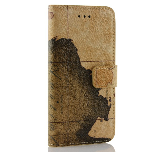 Urcover® iPhone 6 / 6s Schutz Hülle Map Style Cover Kartenfach & Ständer Flip