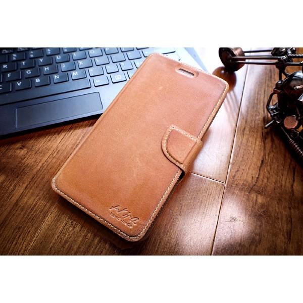 Akira Sony Xperia C4 Handgemachte Echt Leder Schutz Hülle Flip Wallet Cover Case