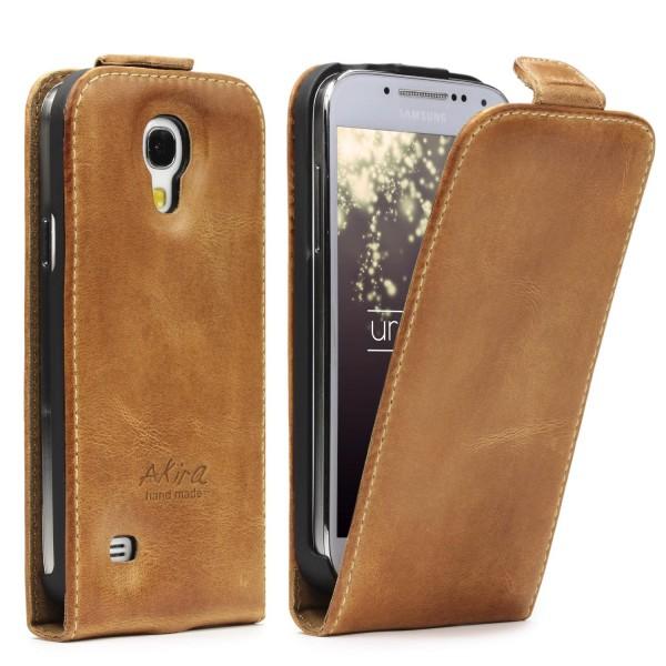 Akira Hand Made Echt Leder Handy Schutz Hülle Samsung Galaxy S4 Mini