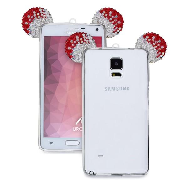 Samsung Galaxy Note 4 Maus Strass Ohren Bling Ear Schutz Hülle Glitzer Cover