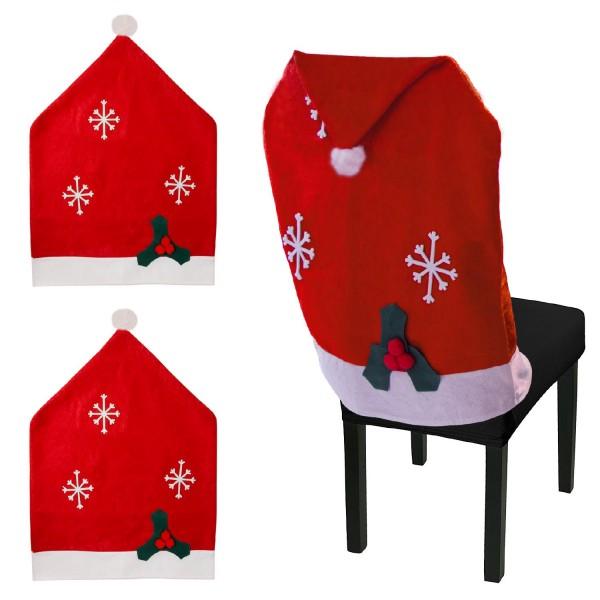 Urhome® Stuhlhusse Weihnachten Filz 2er Set Weihnachtsdeko Stuhlschoner Hülle