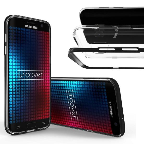 Urcover® Samsung Galaxy S7 Edge Schutzhülle Alu Ecken Schutz Bumper Case Cover