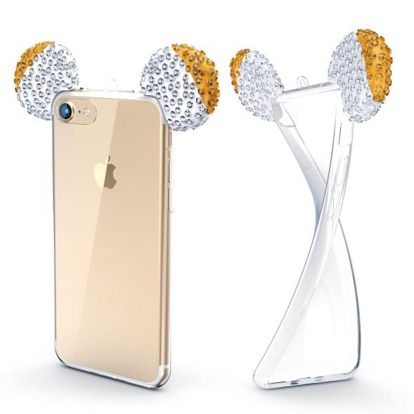 Apple iPhone 7 TPU Maus Ohren Bling Ear Edition Schutz Hülle Cover Glitzer