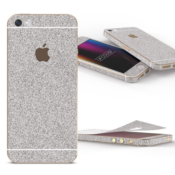 Apple iPhone 5 / 5s / SE Glitzer Folie Aufkleben Regenbogen Farbig Diamond Bling