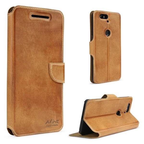 Akira Handmade Huawei Nexus 6P Echt Leder Schutz Hülle Flip Cover Case Wallet