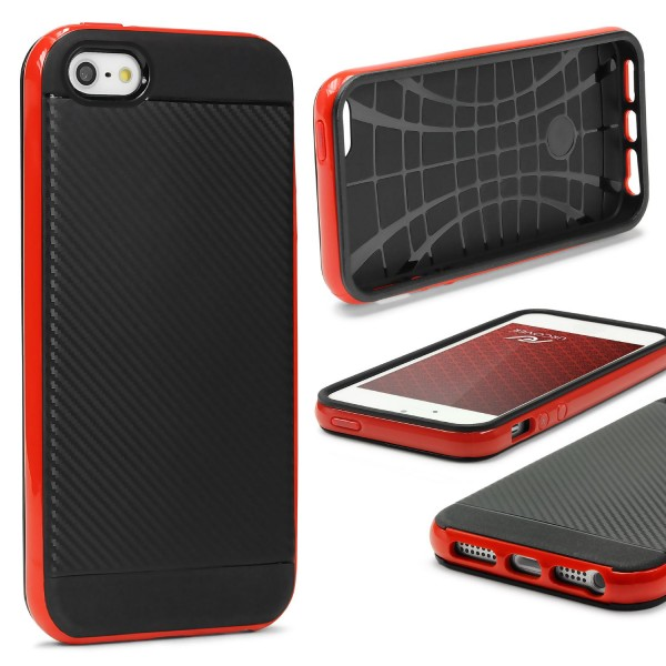 Samsung Galaxy J1 (2015) Back Case Carbon Style Cover Dual Layer Schutzhülle TPU