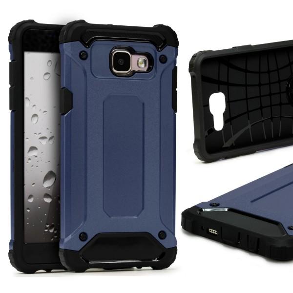 Samsung Galaxy A7 (2016) OUTDOOR Schutz Hülle TOP Cover Back Case Carbon Optik