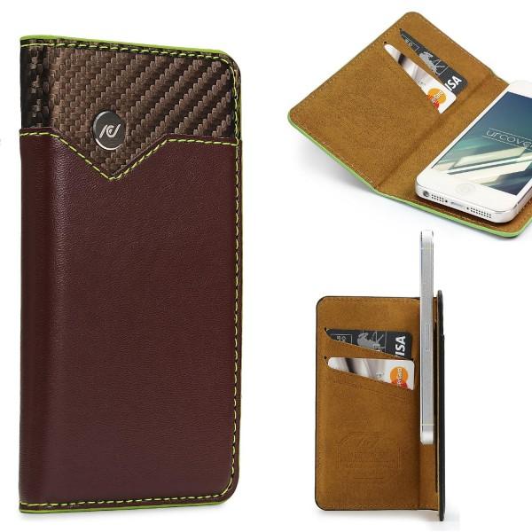 Urcover® Apple iPhone 5 / 5s / SE Schutzhülle Kartenfach Wallet Flip Case Cover
