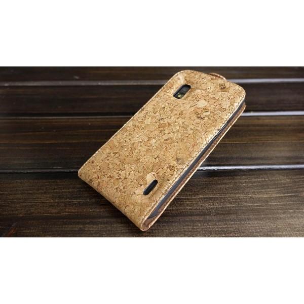 Urcover® LG Nexus 4 Kork Schutz Hülle Flip Wallet Case Cover Schale Etui Tasche