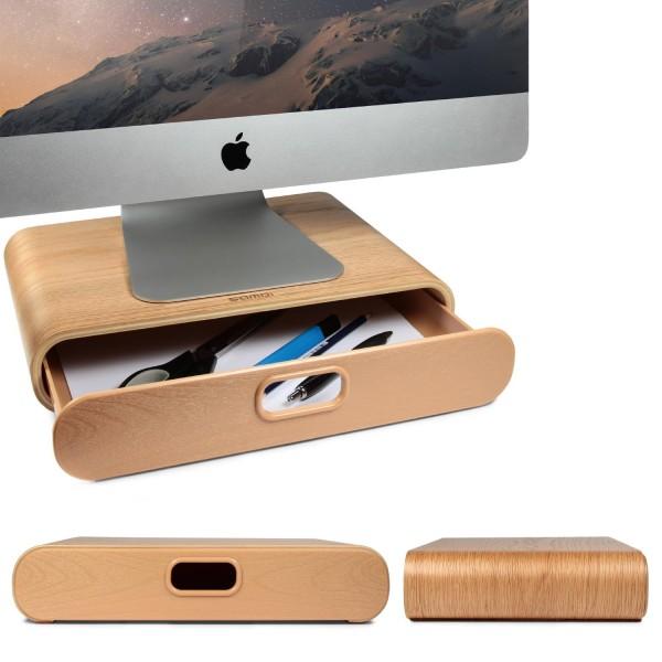 Urcover® Holz iMac Tisch Ständer Bidschirm Ständer Monitor Erhöhung Schubfach