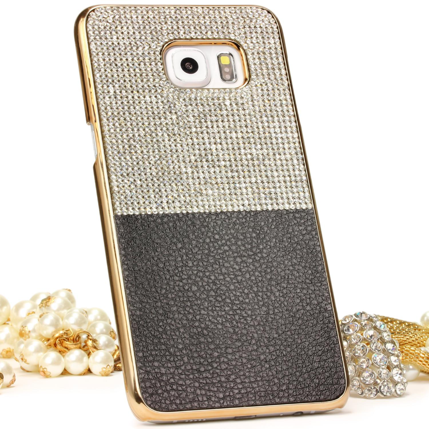 Urcover Samsung Galaxy S6 Edge Plus Schutz Hülle Glitzer Bling Case Cover Strass Backcase Galaxy S6 Edge Plus Smartphone Samsung