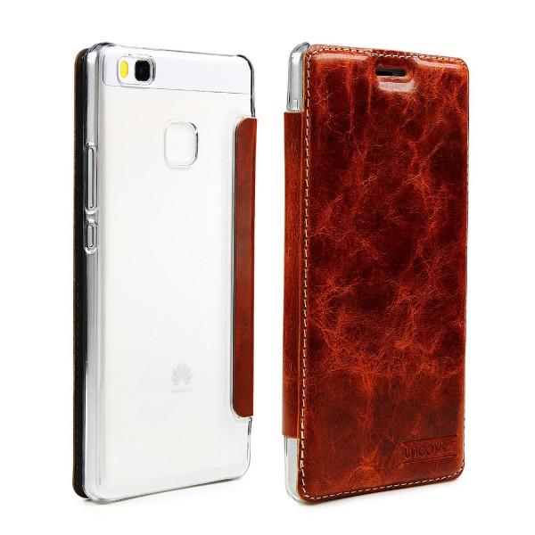 Huawei P9 Lite Echt Leder Schutz Hülle Case Cover klar Tasche Schale Etui Bumper