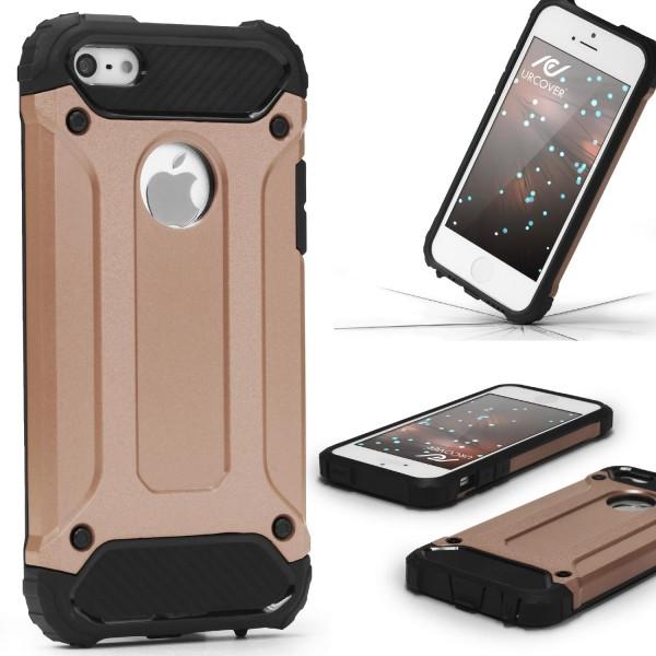 Apple iPhone 5 / 5s / SE OUTDOOR Schutz Hülle TOP Cover Back Case Carbon Optik