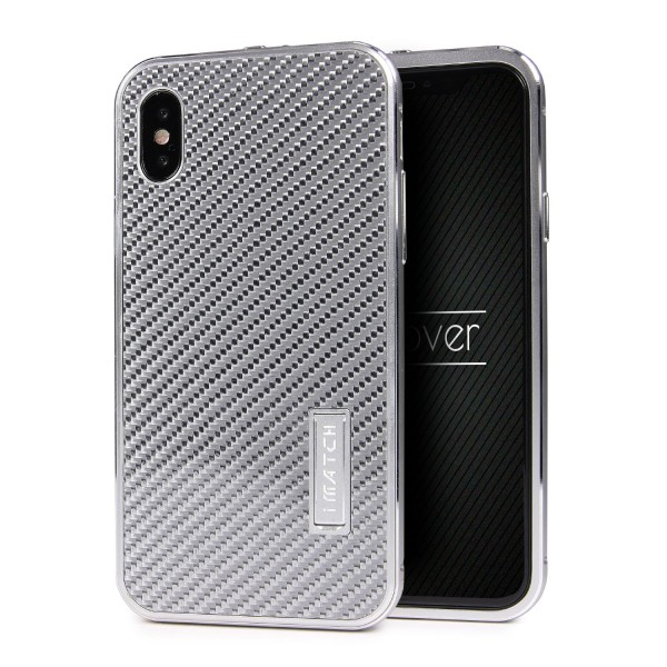 Apple iPhone X Echt Carbon Back Case Handy Schutz Hülle Bumper Aluminium Karbon