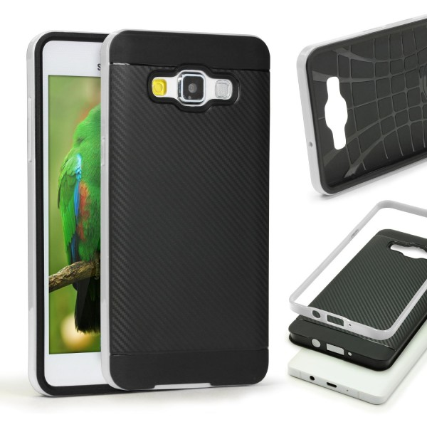 Samsung Galaxy A7 (2015) Case Carbon Style Cover Dual Layer Schutz Hülle TPU