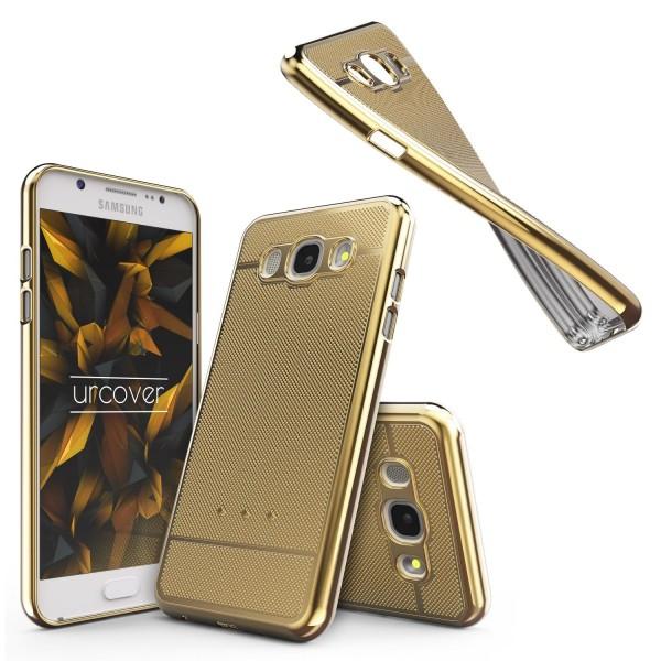 Urcover® Samsung Galaxy J3 (2016) Schutz Hülle Metall Optik Silikon Soft Case