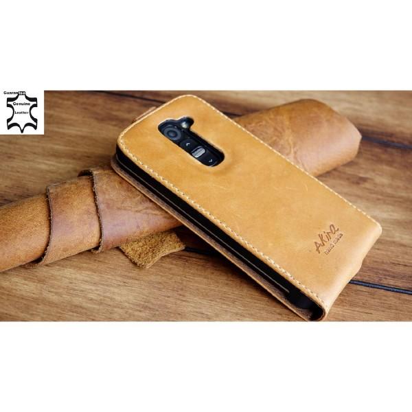 Akira LG G2 Mini Handmade Echtleder Klapp Schutz Hülle Flip Cover Wallet Case