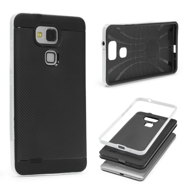Huawei Mate 7 Back Case Carbon Style Cover Dual Layer Schutzhülle TPU Schale