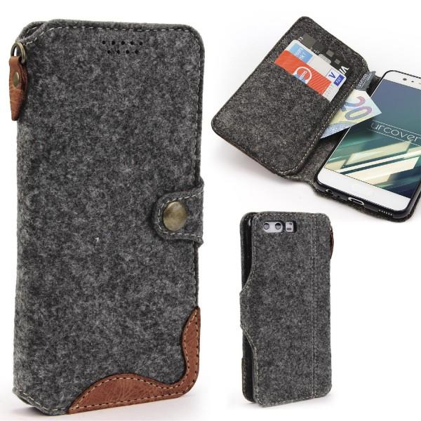 Urcover® Huawei P10 Filz Wallet Handyhülle Aufklapp Cover Case Sleeve Tasche