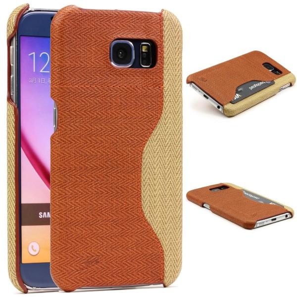Urcover® Handy Schutz Hülle für Samsung Galaxy S6 Case Cover Stoff Look Tasche