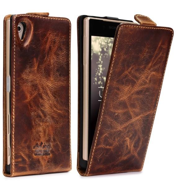 Akira Sony Xperia Z5 Handgemachte Echt Leder Klapp Schutz Hülle Cover Wallet