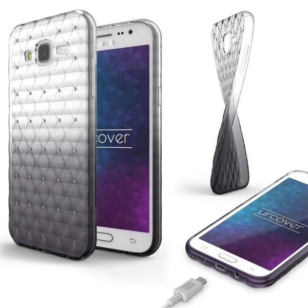 Samsung Galaxy J3 (2015) Luxus TPU Handy Hülle Schutz Cover Glitzer Diamant Case