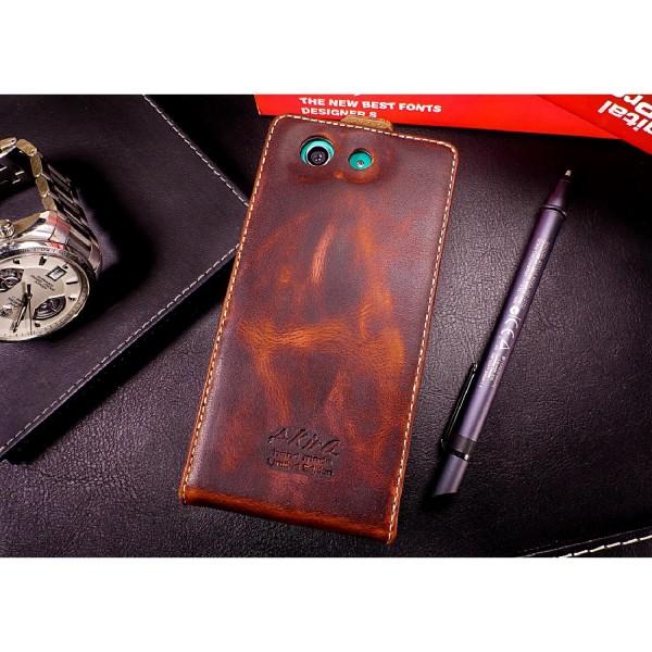 Akira Sony Xperia Z3 Compact Handgemachte Echt Leder Klapp Schutz Hülle Cover