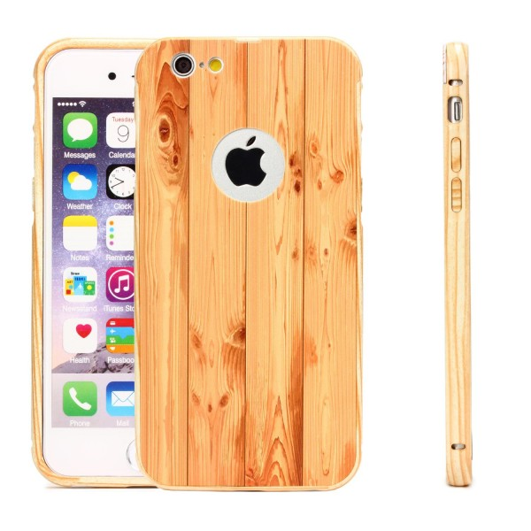 Urcover® Apple iPhone 6 / 6s Schutz Hülle Metall Bumper Holz Optik Case Cover