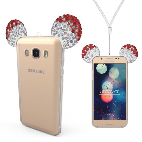 Samsung Galaxy J7 (2016) Maus Strass Ohren Bling Ear Schutz Hülle Glitzer Cover