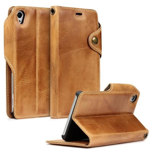 Sony Xperia Z3 Handgemachte Echt Leder Schutzhülle Case Cover Etui Tasche Schale