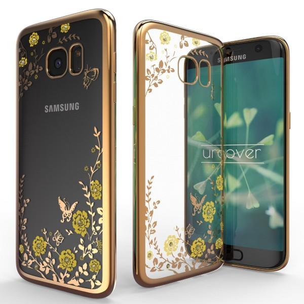 Urcover® Samsung Galaxy S7 Edge Blumen Back Case Klar Schutzhülle Cover Etui