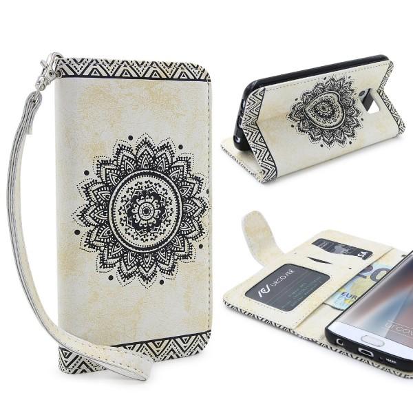 Samsung Galaxy S6 Edge Schutz Hülle Wallet Klapp Schale Lotus Pattern Case Cover