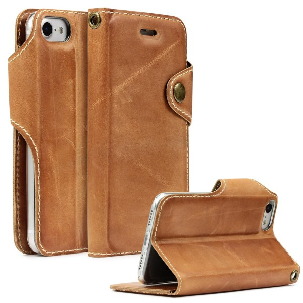 Akira Apple iPhone 7 Echt Leder Wallet Hülle Druckknopf handmade Rindsleder Case
