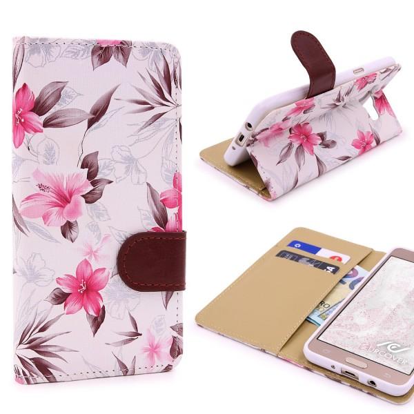 Samsung Galaxy J7 (2016) Blumen Muster Handy Schutz Hülle Case Cover Schale Flip